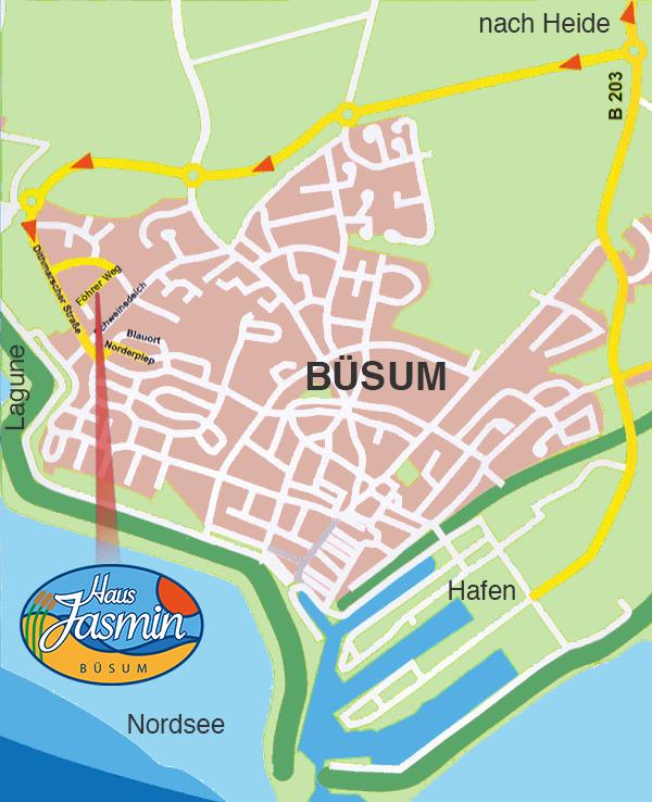 Anfahrt zu den Ferienwohnungen von Haus Jasmin in Büsum